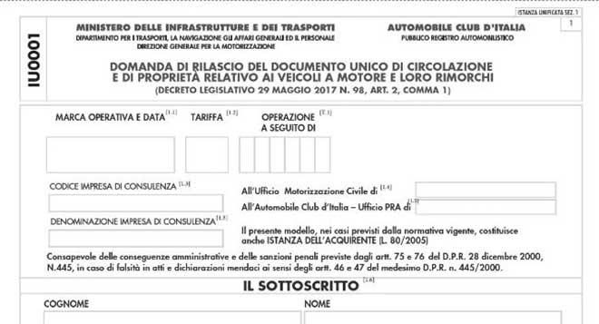 Documento Unico di Circolazione in vigore dal 1° Gennaio 2020